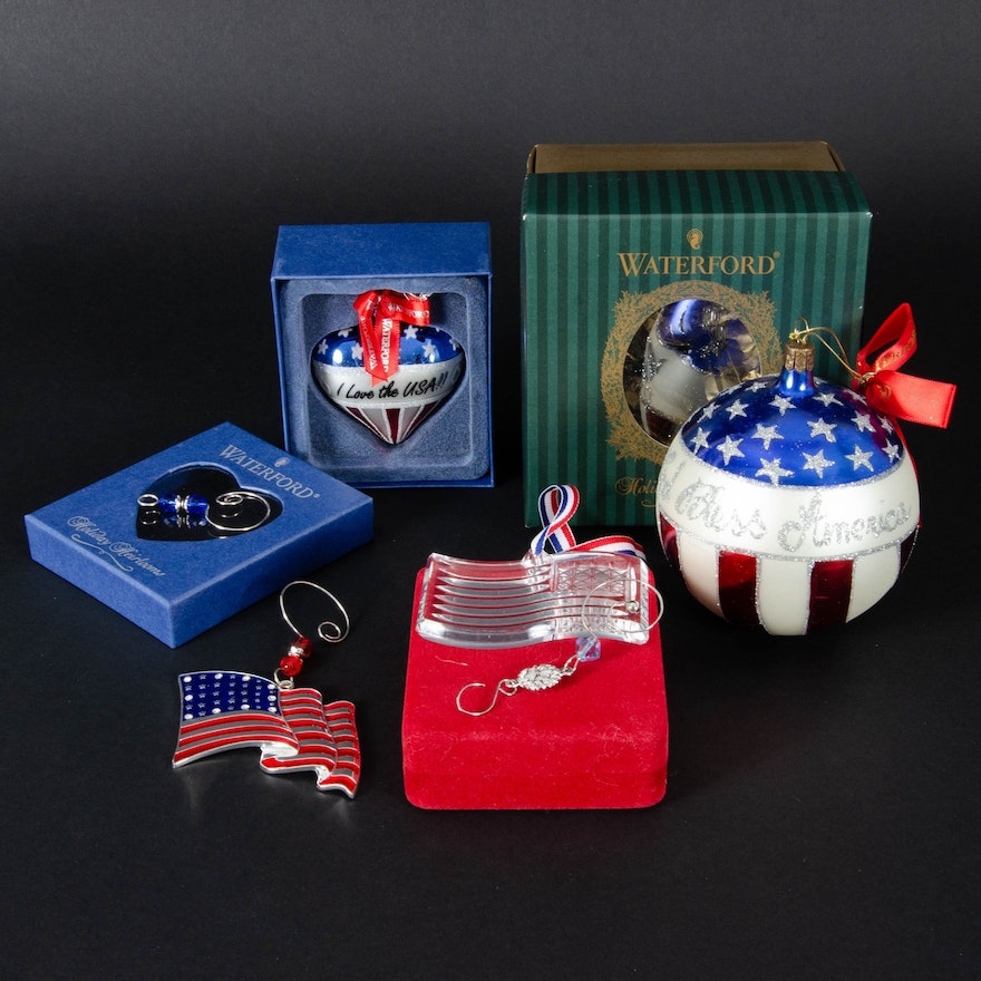 "Waterford Crystal and Harvey Lewis ""Support Our Troops"" Ornaments"