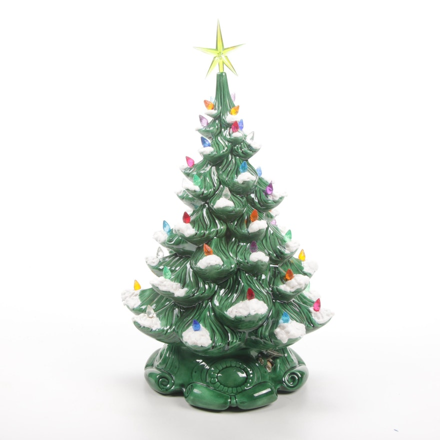 "Lighted ""Silent Night"" Handmade Music Box Christmas Tree"