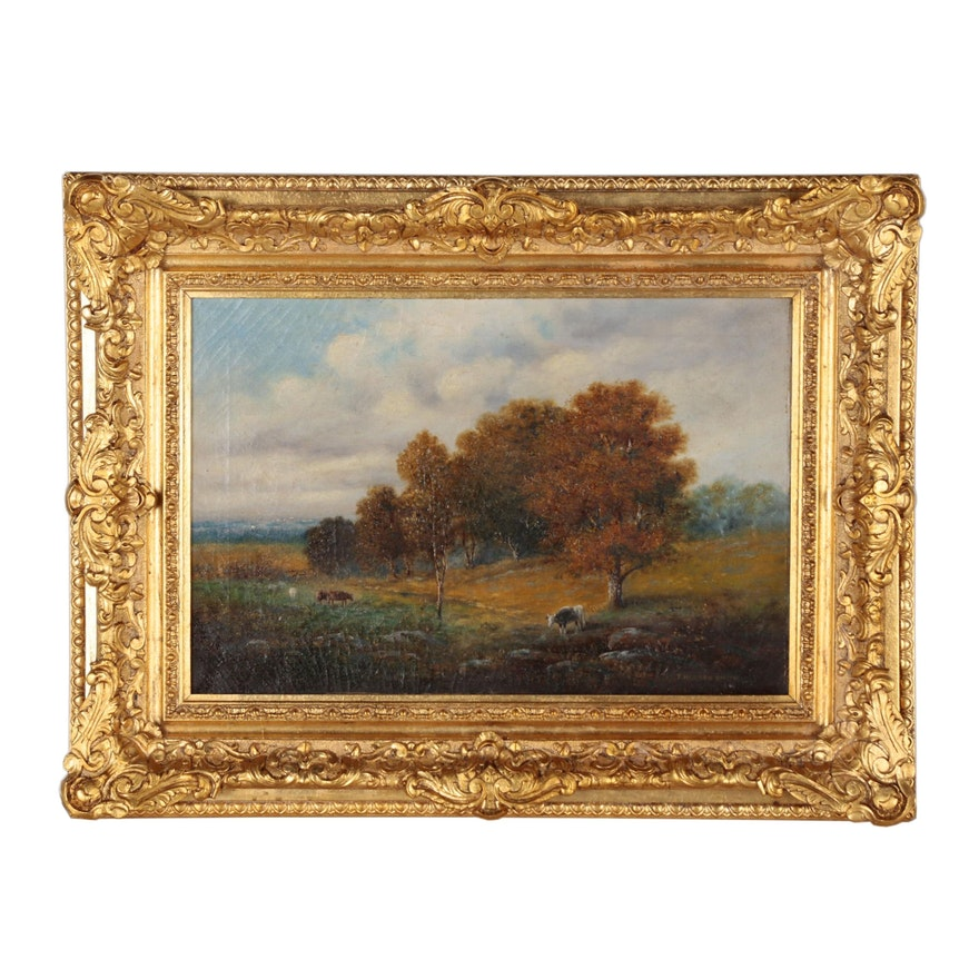 T. Hudson Smith Landscape Oil Painting of Pastoral Scene