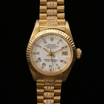 Rolex Datejust 6917 18K Gold Wristwatch with 1.62 CTW Diamond Bracelet, 1981
