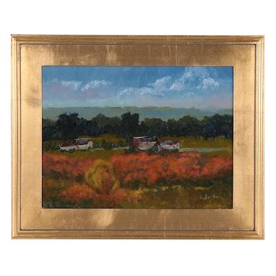 David W. Poe Landscape Oil Painting of Pastoral Scene