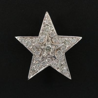 14K White Gold Diamond Star Slide Pendant