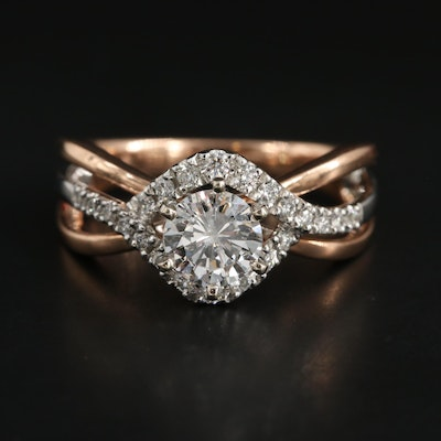 14K Rose Gold and White Gold Diamond Ring