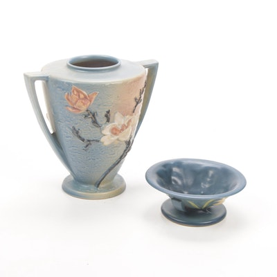 "Roseville Pottery ""Magnolia"" Vase and ""Zephyr Lily"" Bermuda Blue Bowl"