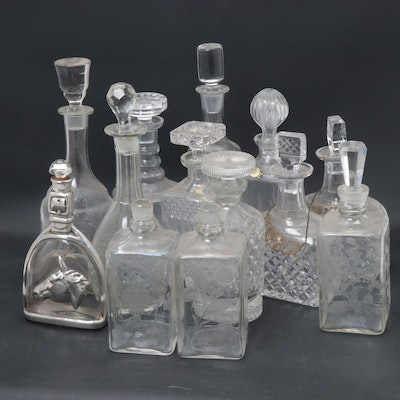Crystal and Glass Decanters Including Lausitzer