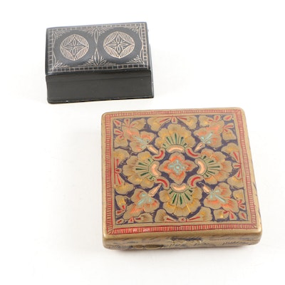 Indo-Persian Champlevé Brass Compact and Hinged Metal Box, Vintage