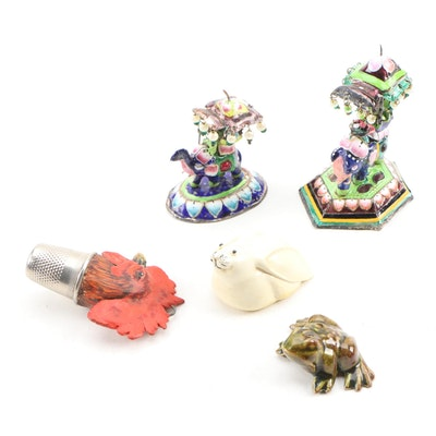 Cloisonné Style Miniature Elephant with Rider Figurines and Animal Figurines