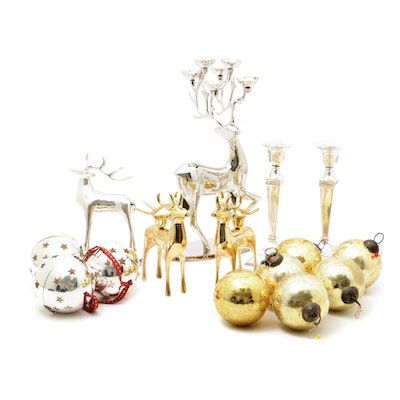 Pottery Barn Silver Plated and Brass Deer, Candlesticks and Ornaments