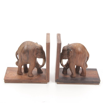 Carved Wooden Elephant Bookends with Bone Tusks