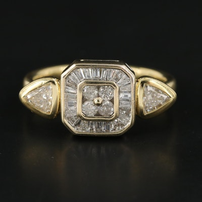 18K Yellow Gold Diamond Ring with 10K Yellow Gold Accent