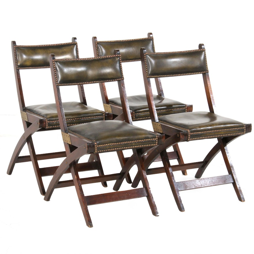 Leather Upholstered Side Chairs with Nailhead Design, Mid-20th Century