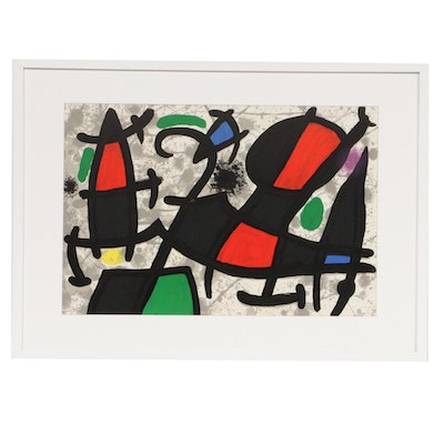 "Joan Miró Double-Page Color Lithograph for ""Derrière le Miroir,"" 1970"