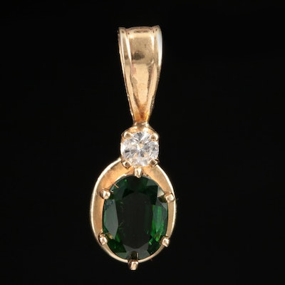 14K Yellow Gold Tourmaline and Diamond Pendant