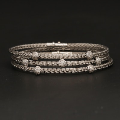"Roberto Coin ""Woven Silk"" 18K White Gold Diamond Bracelets"