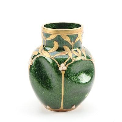 Legras Mont Joye  Art Nouveau Enameled Aventurine Glass Vase, Early 20th Century