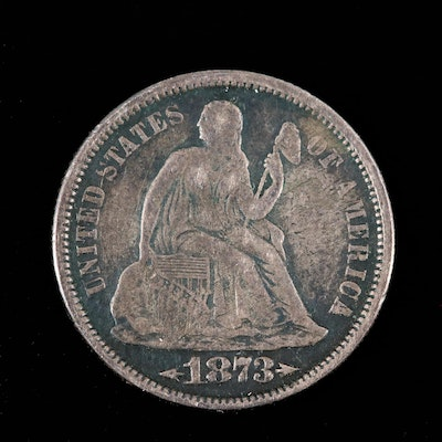 1873 with Arrows Seated Liberty Silver Dime