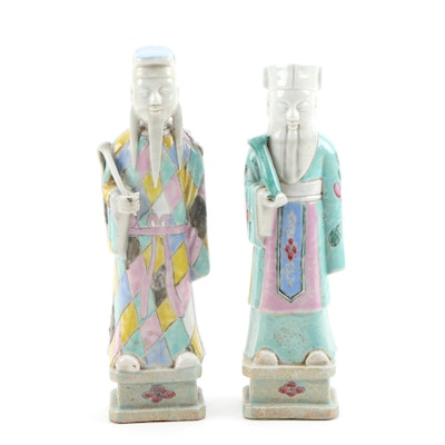 Hand-Painted Chinese Figurines of Sages Carrying Scrolls