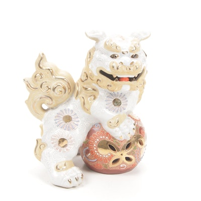 Chinese Moriage Porcelain Guardian Lion Figure