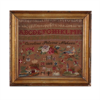 Caroline Nielsen Danish Alphabet and Woolwork Sampler, 1868