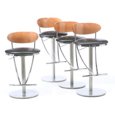 Four Bova Adjustable Barstools, Contemporary