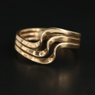 14K Yellow Gold Triple Wave Ring