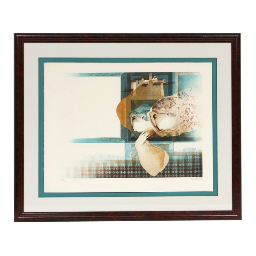 """Àlvar Suñol Munoz-Ramos Embossed Color Lithograph from """"Interieurs, Suite Bleue"""""""
