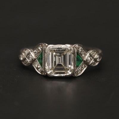 Circa 1930's Platinum 1.62 CTW Diamond and Emerald Ring