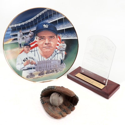 Babe Ruth Commemorative Items with Baseball Glove Paperweight