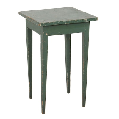 Primitive Style Painted Wood Side Table, Early to Mid 20th Century