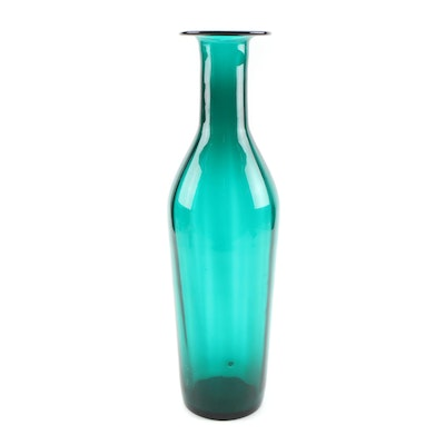 Blown Glass Green Bottle-Shaped Vase, Late 20th Century