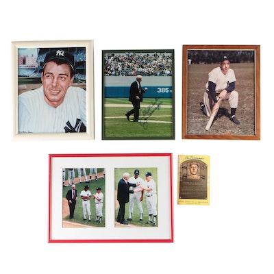 Joe DiMaggio Signed Photo Print and Hall of Fame Baseball Postcard