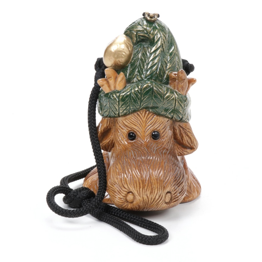 Timmy Woods of Beverly Hills Carved Acacia Wooden Ski Lodge Moose Handbag