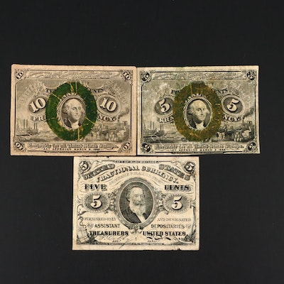 Three U.S. Fractional Currency Notes
