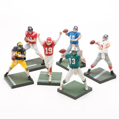 NFL Star Quarterbacks Action Figures Including Joe Montana and Tom Brady, 2009