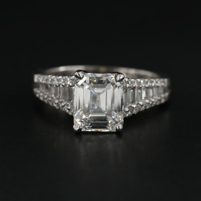18K White Gold 3.02 CTW Diamond Ring with GIA Report