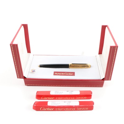 Pasha de Cartier 18K Gold Nib Ballpoint Pen and Ink Refill, 1988