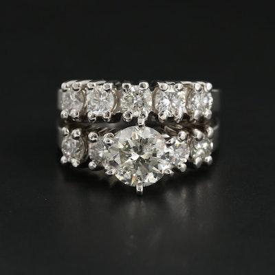 Dana Augustine 14K White Gold 2.76 CTW Diamond Ring with GIA Report