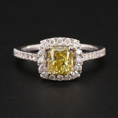 14K White Gold 1.52 CTW Diamond Ring with Fancy Yellow Diamond Center