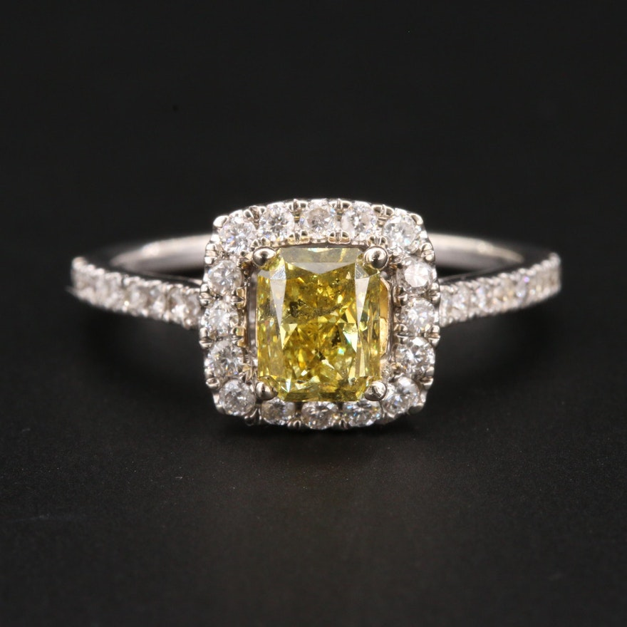 14K White Gold 1.52 CTW Diamond Ring with Fancy Yellow Diamond Center