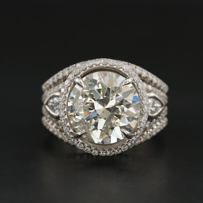 18K White Gold 8.09 CTW Diamond Ring