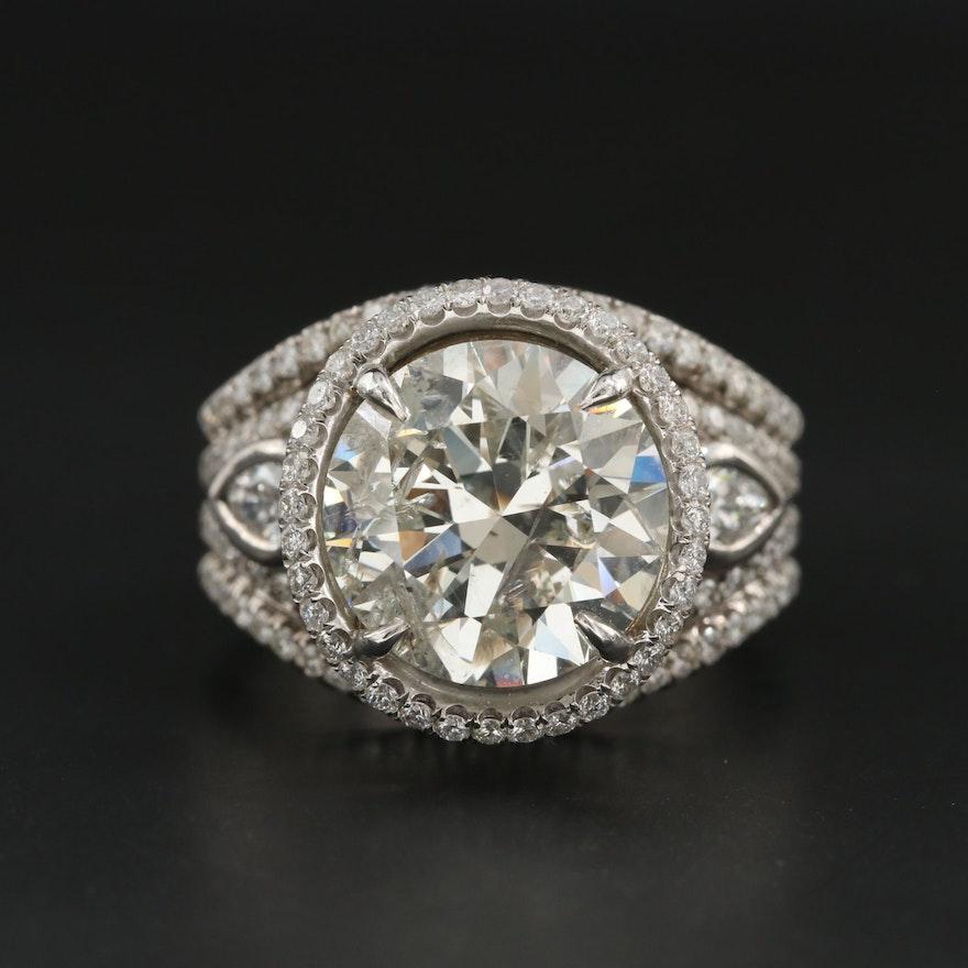 18K White Gold 8.09 CTW Diamond Ring