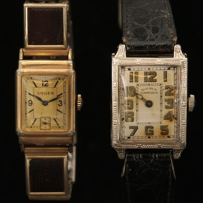 Vintage Gruen and Dueber Hampden Gold Filled Stem Wind Wristwatches