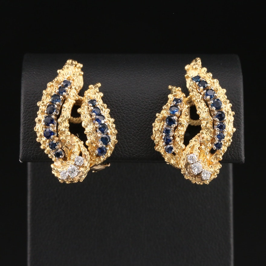 Birks 18K Yellow Gold Diamond and Sapphire Earrings