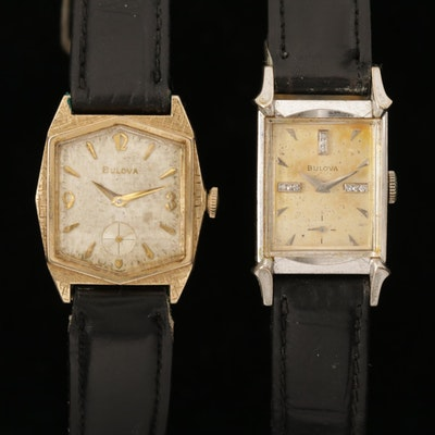 Vintage Bulova Gold Plate and Gold Filled Wristwatches with Diamond Accents
