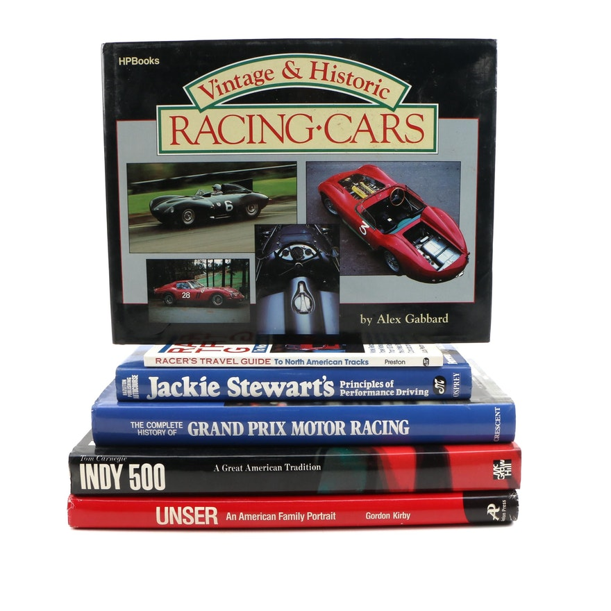 """First Printing """"Indy 500: More Than a Race"""" with Other Motor Racing Books"""