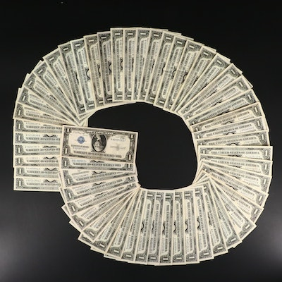 Fifty-Four U.S. One Dollar Silver Certificates