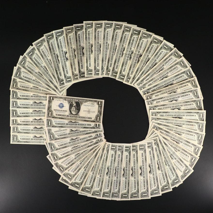 Fifty-Four U.S. One Dollar Silver Certificates