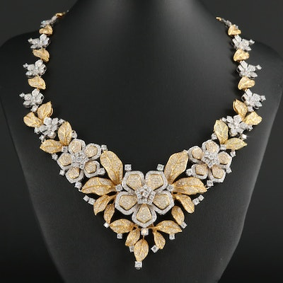 18K Yellow and White Gold 21.73 CTW Diamond Floral Necklace