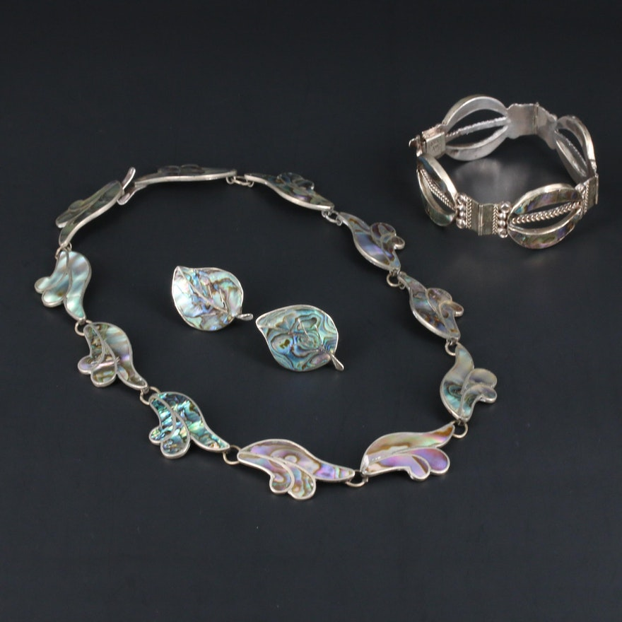 Mexican Sterling and 950 Silver Abalone Necklace, Earrings and Bracelet