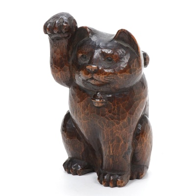 Japanese Carved Wood Maneki-Neko Sculpture, Late 20th Century